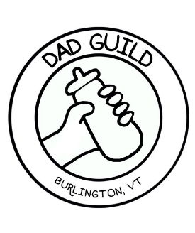 "circle logo with image of hand holding a bottle; text reads ""dad guild, burlington vt"""