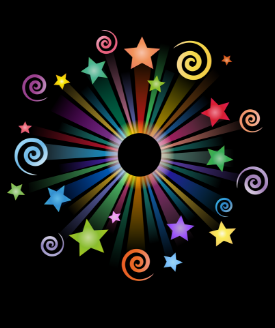 multicolored fireworks with stars and swirls on black background
