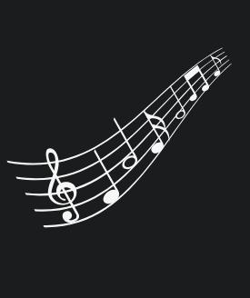 black background with musical staff printed in white